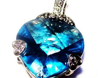 "Blue Glass Heart  Pendant Silver Metal Overlay Reversible Large Bale 1 1/2"" Vintage"