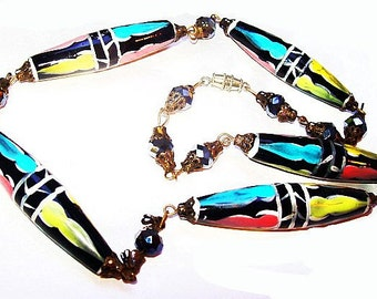 "Crystal Beaded Necklace Hand Painted Glass Beads, Black Pink Yellow 22"" Vintage"