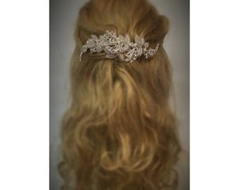 JuJu Wedding Hairpiece, Pearl and Rhinestone beaded Leaf Hair Vine,