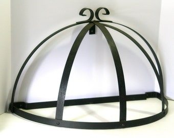 Vintage Large Pot Rack Black Wrought Iron with Scroll Design Large Half Round Wall Mounted Kitchen Hanger for utensils or pans
