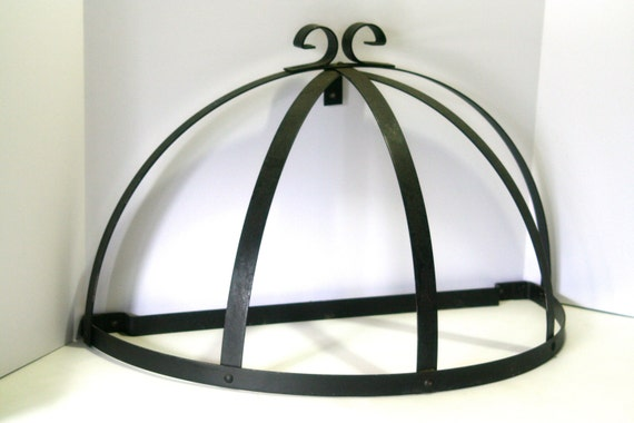 Enclume® Decor Wall Scroll Rack : Vintage large pot rack black wrought iron with scroll design