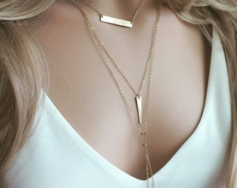 Tall Triangle Necklace /Long Triangle Necklace/ Gold Triangle Necklace /Gold Spike Necklace / 14K Gold Filled Necklace /Layering Necklace