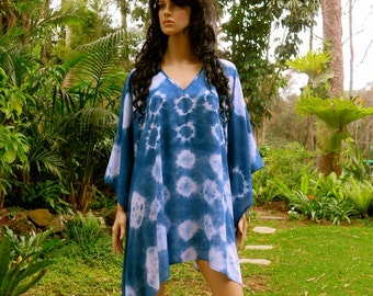 Hand dyed Kaftan, Short Dress, Caftan, Top