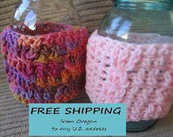 Spring SHOP EVENT Summer Slushie Mason Jar Cozy, Cabled, Jar Sleeve Shipping Included, Ready to Ship