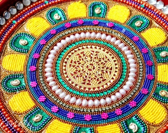 Pooja Thali-Decorative Henna Mehndi Peacock Design Thali-Festive HomeDecor-Nikah-Shadi decor-Indian-Pakistani-Desi- Wedding Centerpiece