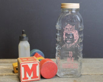 "Vintage Baby Girl Glass Bottle Bank ""To Her Highness"" // Baby Girl Gift // Shower Gift"