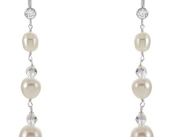 925 Sterling Silver Freshwater Pearl & Crystal Earrings