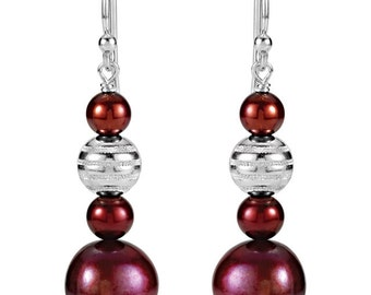 925 Sterling Silver 40.8x10 mm Freshwater Cultured Dyed Pearl Dangle Earrings