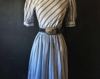 Vintage Navy, Black  and White striped dress