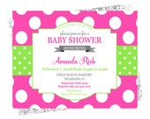 Bold Dot Baby Shower Invitation Girls Garden Brunch Bright Pink and Lime Green Printable or Printed Sprinkle Invite Tea Party