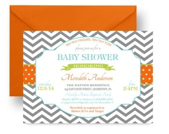 Grey Chevron Baby Shower Invitation Neutral - Orange & Aqua - Retro Invites -- Baby Boys Sprinkle - Custom Colors -- Printable or Printing