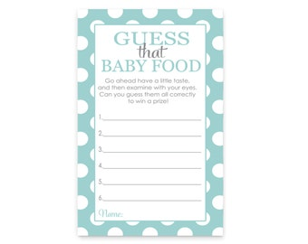Mint Baby Shower Jar Food Game Instant Download Printable File Fun Activity Cards Guess Baby Food