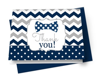 Bow Tie Thank You Card Folded Navy & Grey, Baby Shower Fill In Cards, Kids Stationery, Paper Cards with Chevron Polka-Dot, Printed (NATU)