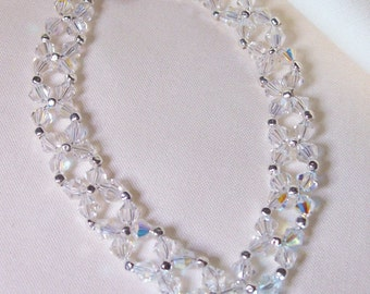 """Crystal wedding bracelet,.4 mm crystal Ve, all sterling components, 8"""" long but can be made any size, crystal shipping applies, #B788"""