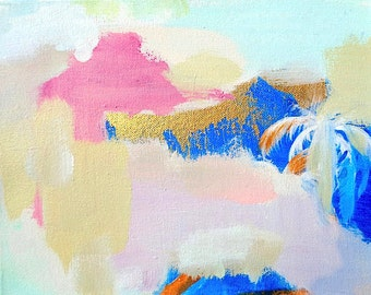 Half Price Sale Abstract Original Painting Art Home Decor 8 X 10 Small Susan Skelley Free Domestic Shipping Pink Blue Gold MIAMI VICE