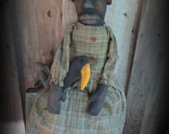 Primitive Black Folk Art Doll Cordelia and Her Crow / Handmade Folk Art Decor
