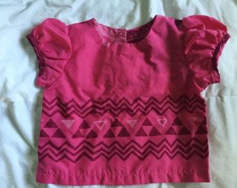 handmade pink top 18-24 months