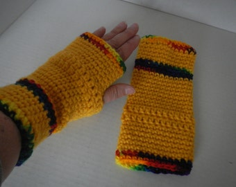 Hand Crocheted Hand Warmers in Yellow And Rainbow Colors