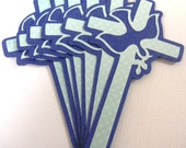12 Cross's with dove Embellishment, Die Cut, Vintage