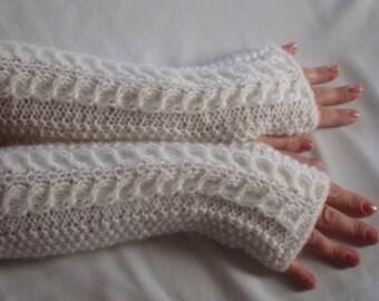 Fingerless Gloves Knit. White. Wedding Fingerless Gloves .Women's  Gift. Arm  Warmers. Extra Long.WinterWomen.