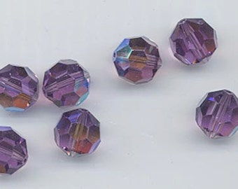 Twelve gorgeous custom Swarovsk crytals in the non-standard color lilac aurora borealis - art. 5000 - 8 mm - lilac AB