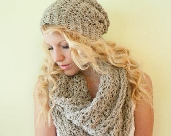 SUMMER SALE Slouchy hat beanie crocheted - oatmeal - wool