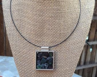 Beach glass mosaic pendant necklace
