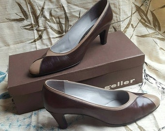 Vintage Shoes Brown Tan Andrew Geller Pumps with Original Box 8 - 8.5 S Two Tone Heels