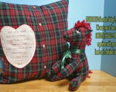 Memory Pillow Slipcover w/Heart & Stuffed Animal Made From ONE Shirt of Loved One