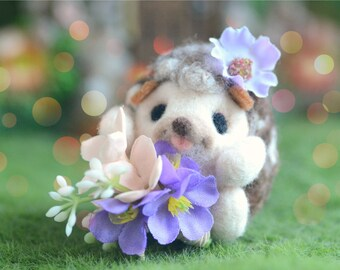 Handmade happy hedgehog doll, needle felt hedgehog doll with flower bouquet, gift under 25