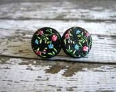Black Floral Stud Earrings : Wood Print 16mm
