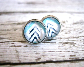 Blue Tribal Stud Earrings : Glass Chevron Posts