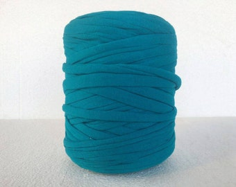 Turquoise blue T-Shirt yarn for rug, Fabric yarn for basket, Tshirt yarn for bag,  Zpagetti yarn, Tricot yarn, Recycled yarn, Cotton yarn