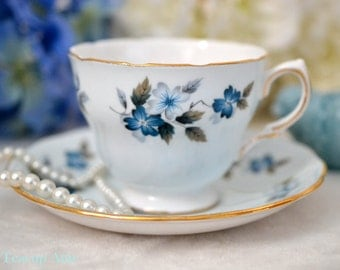 Colclough Pale Blue Floral Teacup and Saucer Set Pattern 8242, English Bone China Tea Cup Set, Replacement China,  Wedding Gift, ca. 1960