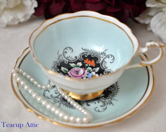 Paragon Robin's Egg Blue Teacup and Saucer With Hand Painted Floral Center, English Bone China Tea cup Set, ca. 1952-1960