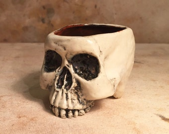 Ceramic Skull Sake Glass and Espresso Cup Rust and Bone