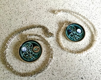 Doctor Who Blue Gallifreyan Seal Pendant - Two Styles to Choose From