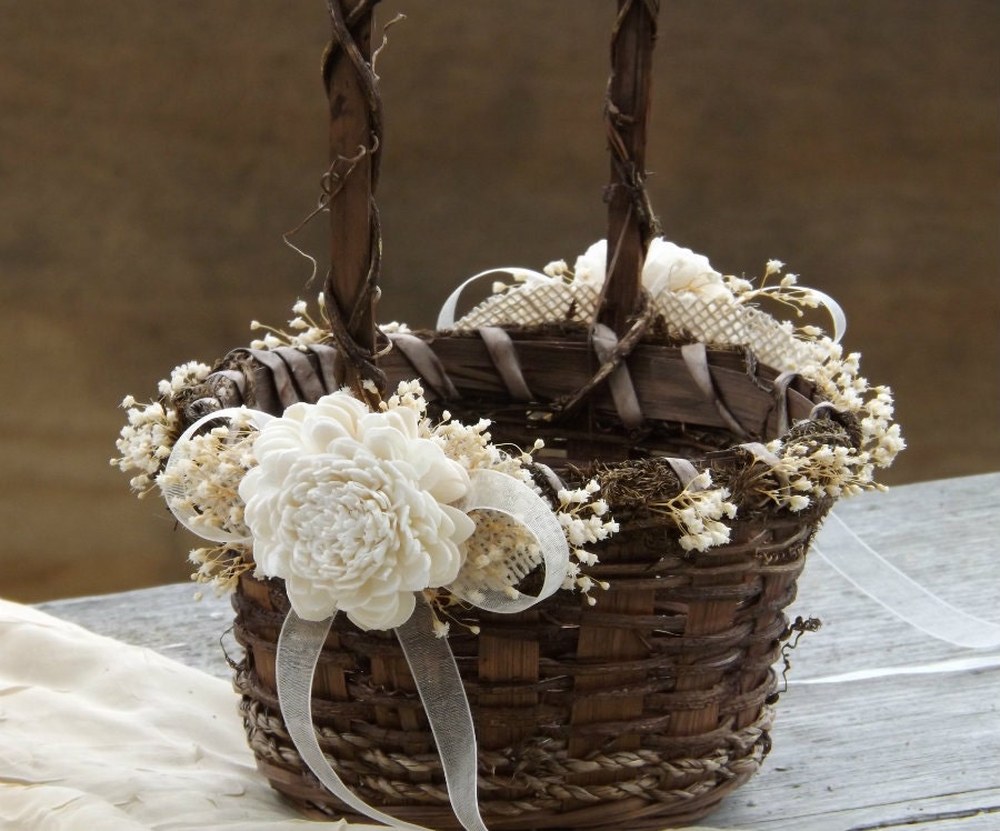 How To Weave A Basket Out Of Twigs : Rustic flower girl basket sola flowers with burlap round twig