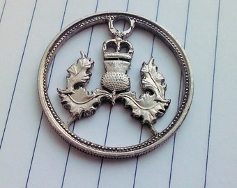 Scottish thistle. Cut coin charm. 5 new pence UK.