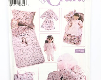 UNCUT Simplicity Crafts 7770 Sewing Pattern Doll Clothes and Child Sleepover Accessories Sleeping Bag Pillowcase Overnight Bag Robe Pajamas