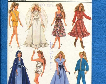 Vintage 1987 Simplicity 8333 Doll Clothes Wardrobe for 11.5 inch Dolls