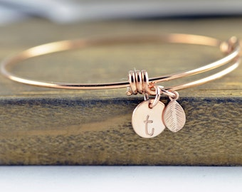 Rose Gold Initial Bracelet, Personalized Hand Stamped Bracelet, Bridesmaid Gift,Bridesmaid Jewelry, Initial Personalized Bridesmaid Bracelet