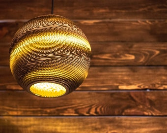 Handmade eco friendly lamp - Sphere - Lamp cardboard - Cafe Decor - Recycled cardboard lamp