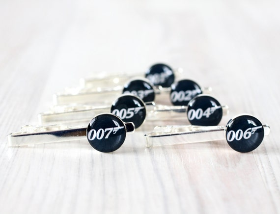 Wedding mens Tie Clips - set of Groomsmen gifts - James Bond Tie Clip - James Bond 007 Jewelry