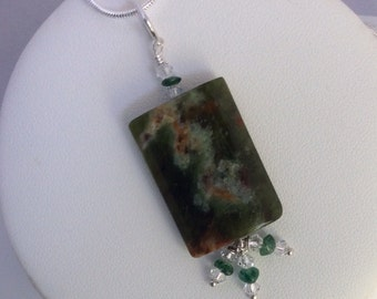 Ocean Jasper, green Aventurine and Czech crystal pendant with silver chain - in decorated gift box - Sale