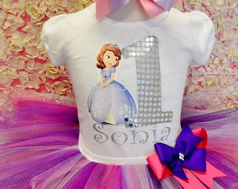 Sofia the first birthday outfit,FREE SHIPPING, birthday outfit, birthday girl outfit,purple birthday tutu,girl birthday outfit,purple tutu