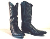 Vintage Cowboy Boots, Justin Pointy Toe Black Lizard Skin & All Leather, Men's size 8 D / Women 9.5