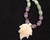 Hand beaded gemstone necklace, prehnite necklace, hand beaded necklace, leaf necklace, necklace, hand beaded jewelry, hand beaded jewellry