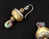 Hand beaded drop earrings, lampwork glass earrings, hand beaded earrings, gold glass earrings, glass earrings, gold lampwork earrings