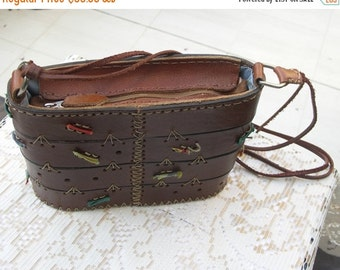 25% OFF SALE Vintage brown leather  handmade box bag with colored ribbons